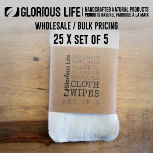 Bulk Order - 25 x Set of 5 - Natural Cotton Flannel Cloth Wipes, Reusable Baby Wipes - Family Cloth - Wholesale Pricing