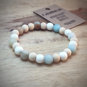 Amazonite and Wood Bead Diffuser Bracelet